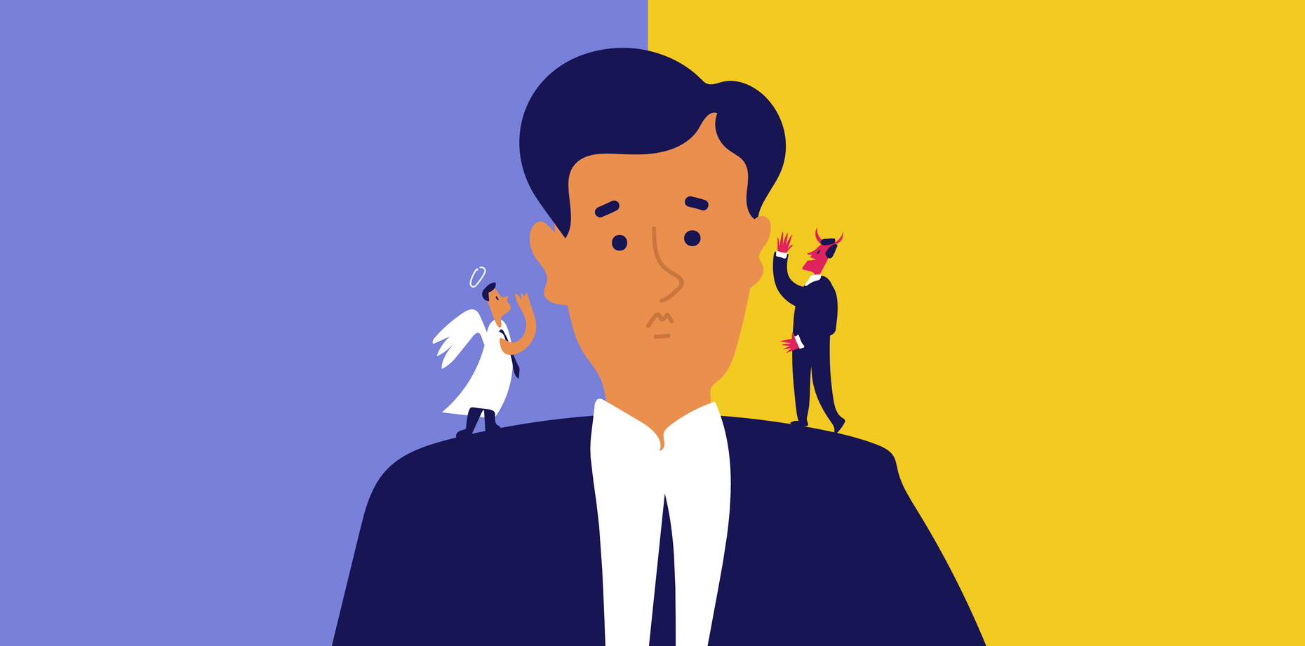 Vector Image of a man listening to an angel and devil talking on each shoulder