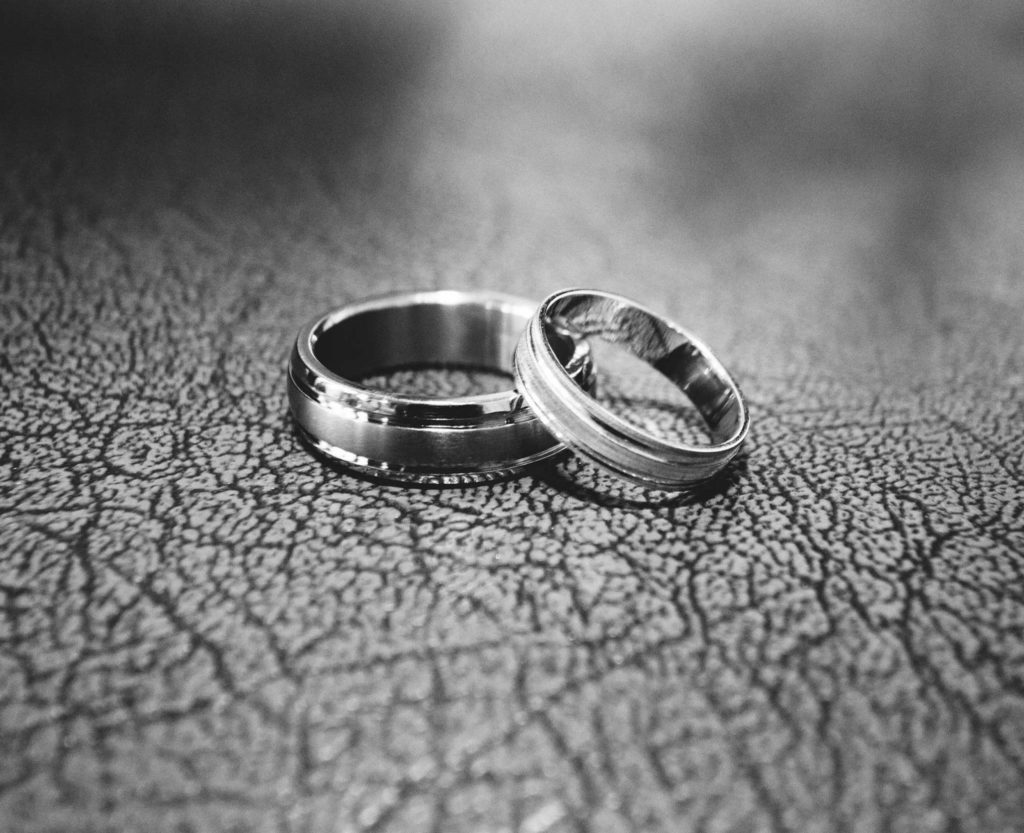 mid shot of two engagement rings