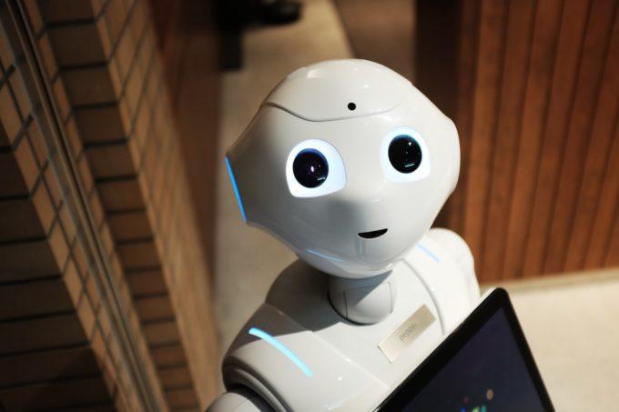 A close up of a robot