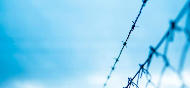 close up of a fence with barb wire and the sky